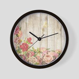 Vintage Rustic Romantic Roses Wood Wall Clock