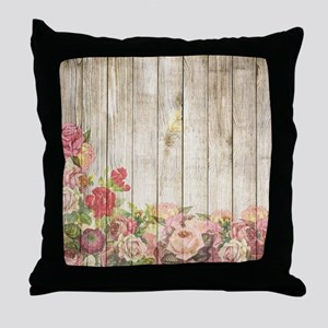 Vintage Rustic Romantic Roses Wood Throw Pillow