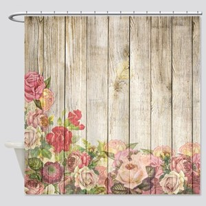 Vintage Rustic Romantic Roses Wood Shower Curtain