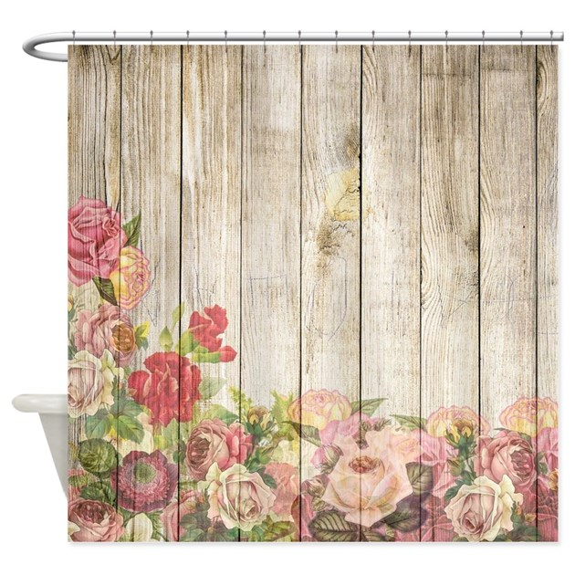 vintage rustic roses wood shower curtain by admin 87973