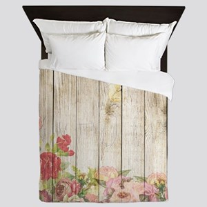 Vintage Rustic Romantic Roses Wood Queen Duvet
