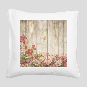 Vintage Rustic Romantic Roses Square Canvas Pillow