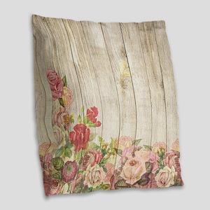 Vintage Rustic Romantic Roses Burlap Throw Pillow
