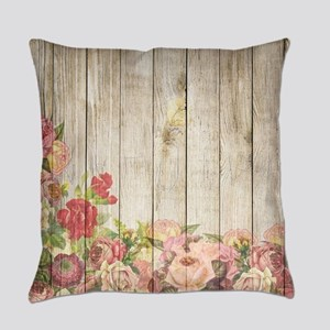 Vintage Rustic Romantic Roses Wood Everyday Pillow