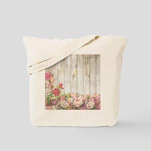 Vintage Rustic Romantic Roses Wood Tote Bag