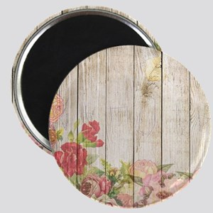 Vintage Rustic Romantic Roses Wood Magnets