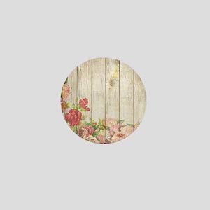 Vintage Rustic Romantic Roses Wood Mini Button