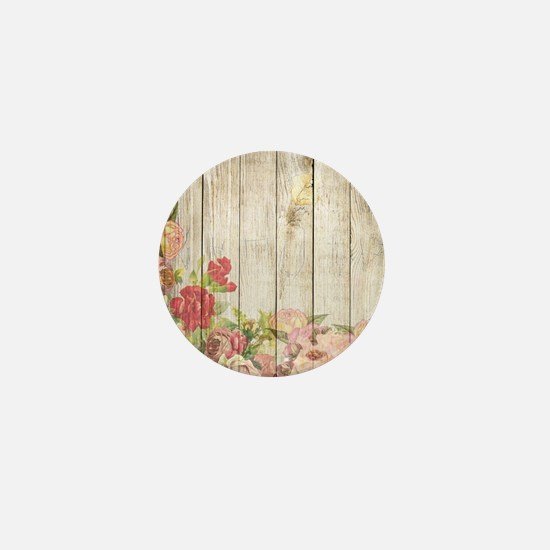 Vintage Rustic Romantic Roses Wood Mini Button