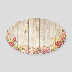 Vintage Rustic Romantic Roses Wood Oval Car Magnet