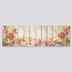 Vintage Rustic Romantic Roses Wood Bumper Sticker