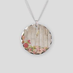 Vintage Rustic Romantic Rose Necklace Circle Charm