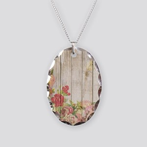 Vintage Rustic Romantic Roses Necklace Oval Charm