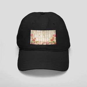 Vintage Rustic Romantic Roses Black Cap with Patch