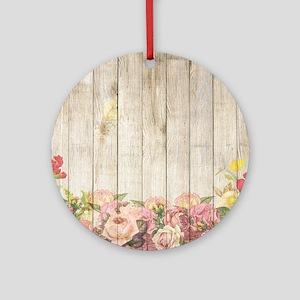 Vintage Rustic Romantic Roses Wood Round Ornament