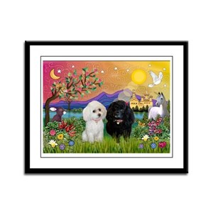 Fantasy Land & 2 Poodles Framed Panel Print