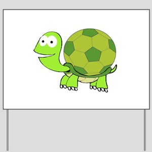 Turtle with Soccer Ball Shell Yard Sign