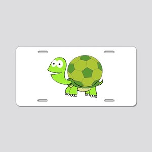 Turtle with Soccer Ball She Aluminum License Plate