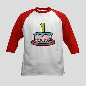 1 Year Old Birthday Cake Kids Baseball Jersey