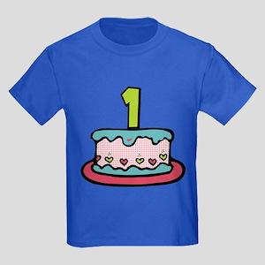 1 Year Old Birthday Cake Kids Dark T-Shirt