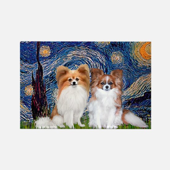 Starry Night & Papillon Rectangle Magnet (10 pack)