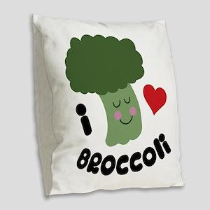 Love Broccoli Burlap Throw Pillow
