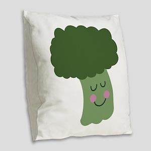Happy Broccoli Burlap Throw Pillow
