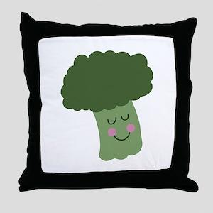 Happy Broccoli Throw Pillow