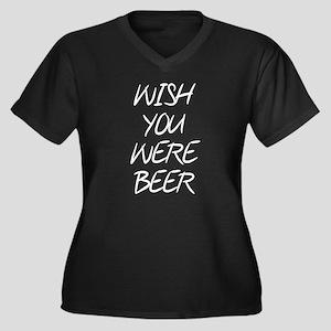 Wish You Wer Women's Plus Size V-Neck Dark T-Shirt