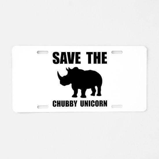 Chubby Unicorn Rhino Aluminum License Plate