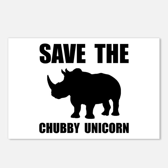 Chubby Unicorn Rhino Postcards (Package of 8)