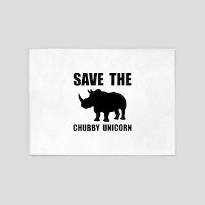 Chubby Unicorn Rhino 5'x7'Area Rug