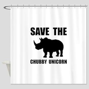 Chubby Unicorn Rhino Shower Curtain