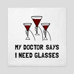 Doctor Says Wine Glasses Queen Duvet
