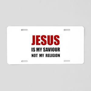 Jesus Savior Not Religion Aluminum License Plate