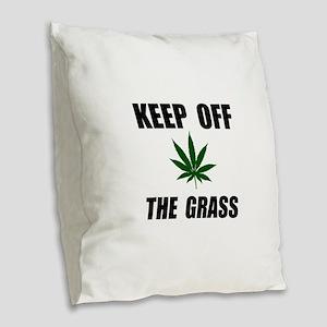 Keep Off The Grass Burlap Throw Pillow