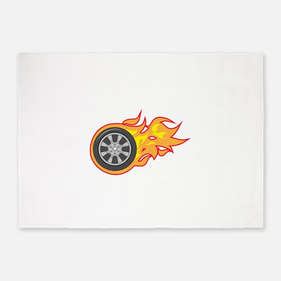FLAMING TIRE 5'x7'Area Rug