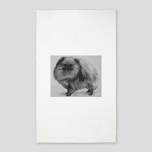Pomeranian Dog - Black Area Rug