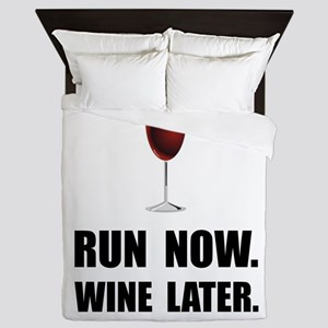 Run Now Wine Later Queen Duvet