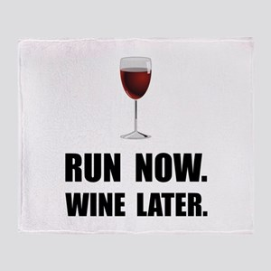 Run Now Wine Later Throw Blanket