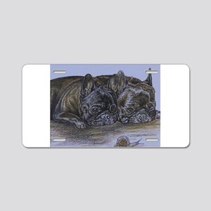 French Bulldogs with Snail Aluminum License Plate