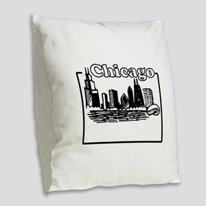 Chicago Burlap Throw Pillow