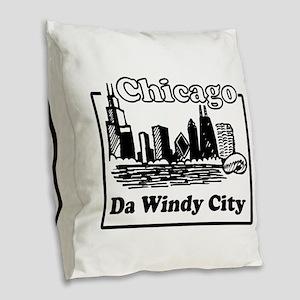 Windy City Burlap Throw Pillow