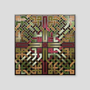 """Earthtone Celtic Knot Squar Square Sticker 3"""" x 3"""""""