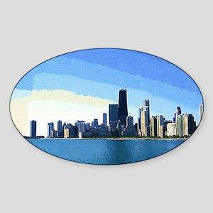 Chicago Skyline Goache Paint Sticker