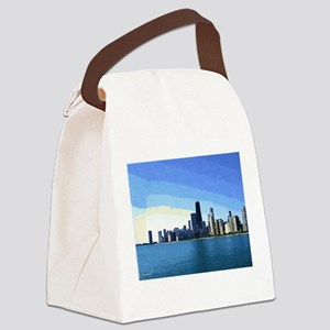 Chicago Skyline Goache Paint Canvas Lunch Bag