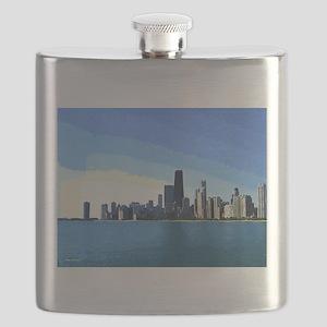 Chicago Skyline Goache Paint Flask