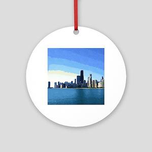 Chicago Skyline Goache Paint Ornament (Round)