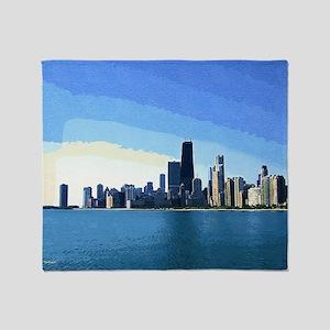 Chicago Skyline Goache Paint Throw Blanket
