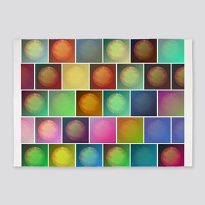 Multicolored suns 5'x7'Area Rug