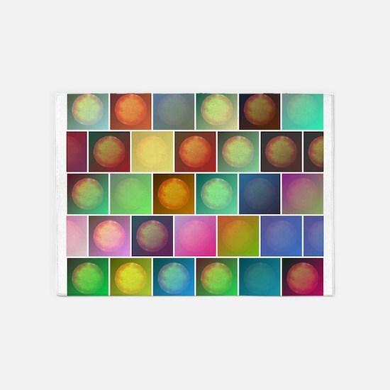 Multicolored suns 5'x7'Area Rug